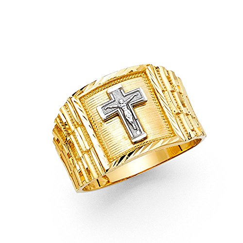 Square Crucifix Gold (Solid 14k Yellow White Gold Big Jesus Cross Square Ring Mens Large Crucifix Band Two Tone 14MM Size 10)