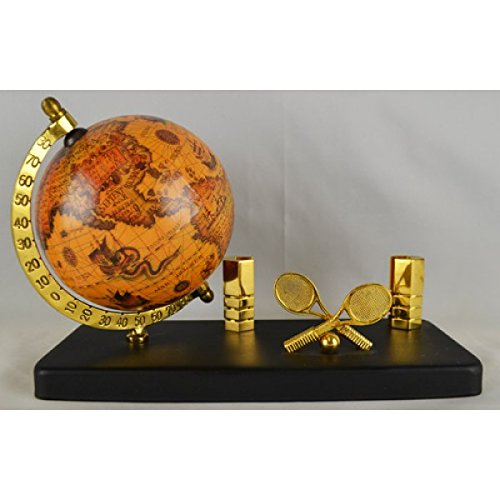 Tennis Business Cards - Decorative Tennis Business Card Holder with Globe - Office Desk Decoration Piece