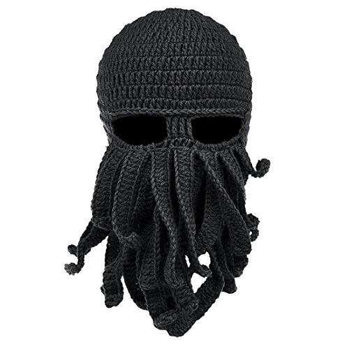Unisex Knit Beanie Funny Octopus Crochet Hat Knit Beard Skull Cap Black,One Size,Black,One Size,Black