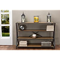 Baxton Studio Lancashire Wood and Metal Console Table, Brown