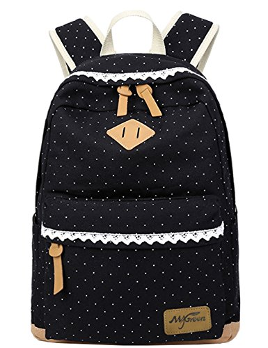 Mygreen Lightweight Leisure Dot 14 Inch Laptop Backpacks Cute Girls Canvas School Backpack Black ()