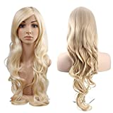 MelodySusie Blonde Long Curly Wig - High Quality Gorgeous Women Long Curly Wig with Wig Cap (Light Blonde)