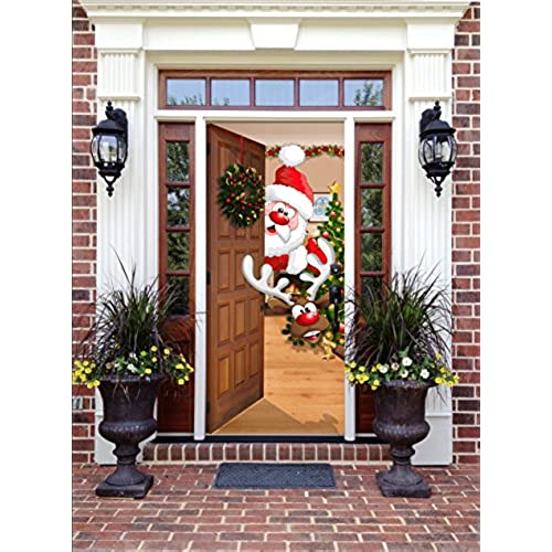 christmas front door decor santa and rudolph - Christmas Front Door Decor