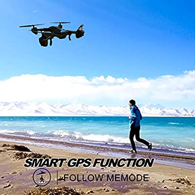 5G WiFi FPV RC Drone with Camera Live Video 1080P HD and GPS Return Home 6 Axis Gyro Quadcopter with Wide-Angle WiFi Camera and Follow Me Altitude Hold Headless Mode Helicopter for Kids and Adults