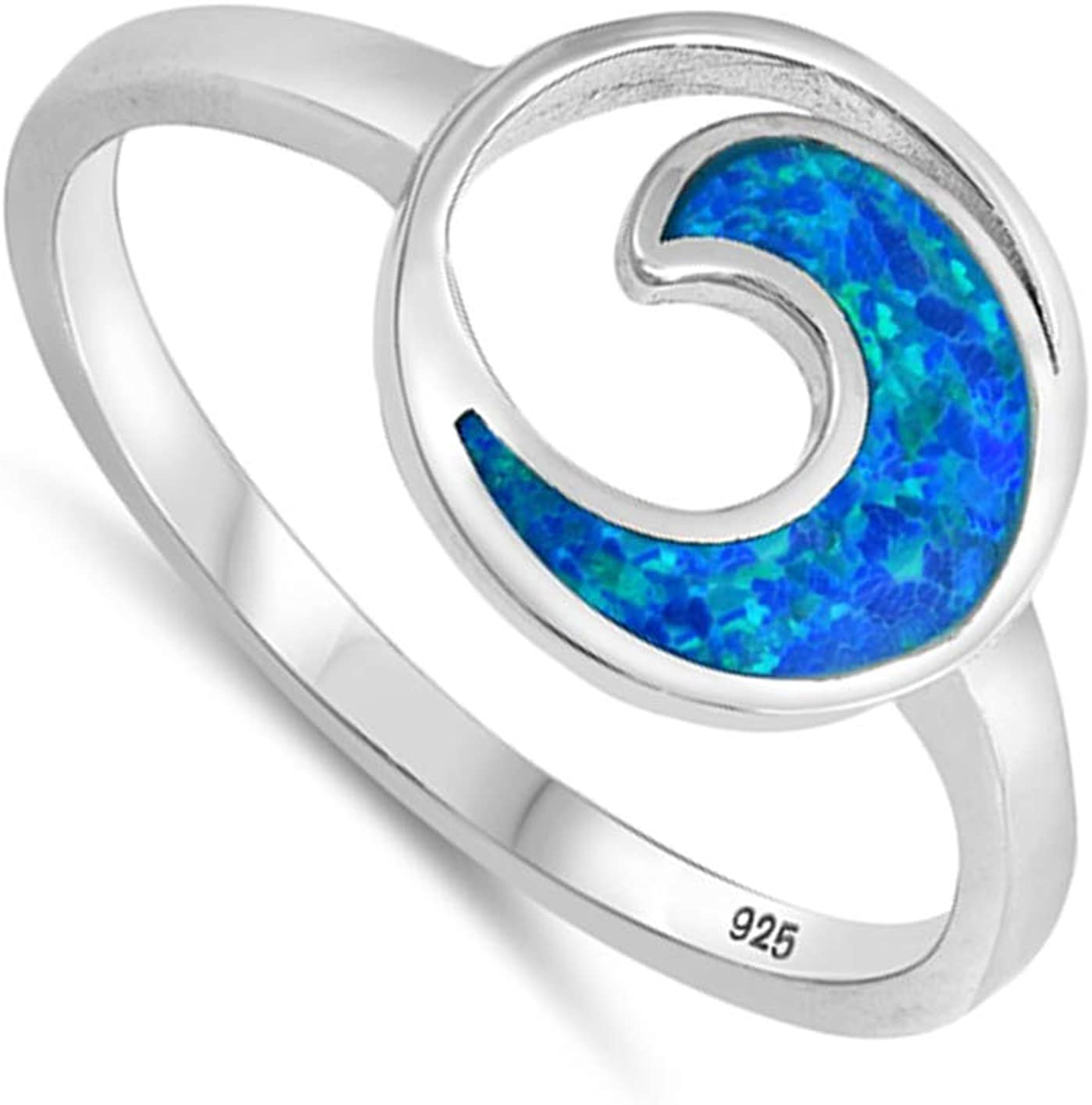 CloseoutWarehouse Blue Simulated Opal Circle Wave Ring Sterling Silver
