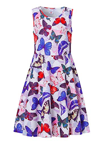 uideazone Kids Girls Printed Butterfly Sundress Cute Sleeveless Playwear Dress for Summer Spring Beach]()