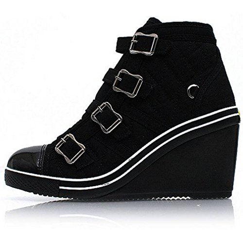 EpicStep Women's Black High Tops High Heel Wedges Shoes Casual Fashion Sneakers 7 M US