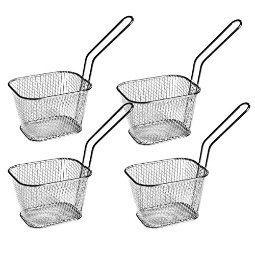 4pcs Mini Chrome Chip Frying Fry Serving Basket 10.5 x 8.5 x6.5cm Food Presentation Serving Baskets ¦ Ideal for Chips, Fries, Wedges, Great for Entertaining Family & Guests by Kitchen Stars by HUAXIONG