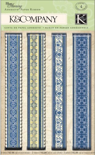 Blue Paper Awning (K&Company Blue Awning Adhesive Paper Ribbon by EKS)