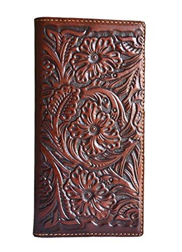 (stony west men brown rustic floral tooled long secretary bifold wallet)