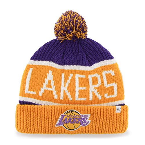 NBA Los Angeles Lakers '47 Brand Calgary Cuff Knit Hat with Pom, One Size, Purple