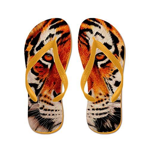 Cafepress Amur Tiger - Chanclas, Sandalias Thong Divertidas, Sandalias De Playa Naranja
