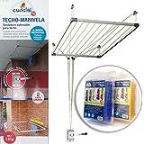 Bricolemar Tendedero de Techo Sube y Baja con Manivela Cuncial Tezno-Techo + 40 Pinzas Irrompibles Monoblock Pack