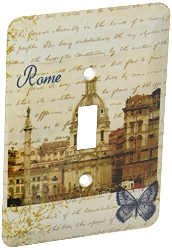 3dRose lsp_130622_1 Rome with Script and Butterfly- Italy Single Toggle (Rome Plate)
