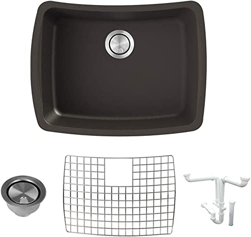 Transolid K-GUSC2217-12 Genova SilQ Granite Undermount Single Bowl Kitchen, Including Sink, Grid, Strainer and Installation Kit, 25 L x 20 W x 7.5 H, Espresso