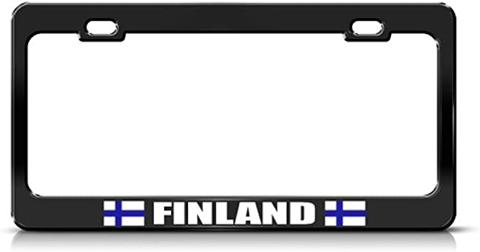Speedy Pros Finland Finnish Flag Suomi Country Metal License Plate Frame Tag Holder