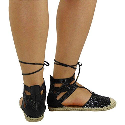 Womens Ladies Glitter Low Flat Heel Ankle Lace Up Espadrilles Shoes Sandals Size 3-8 Black Pu e3VGXKB