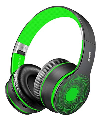 Lobkin Over The Ear Headphones with Microphone, Stereo Sound FM Radio TF Steel Foldable Portable for TV/Travel/Home/Office/Class/Business Wireless Gym Comfortable Headphones (Water Transfer-Green)