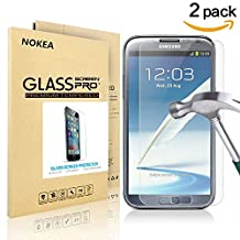 [2 PACK] Samsung Galaxy Note 2 Screen Protector, NOKEA [9H Hardness] [Crystal Clear] [Easy Bubble-Free Installation] [Scratch Resist] Tempered Glass for Galaxy Note 2 (for Note 2)