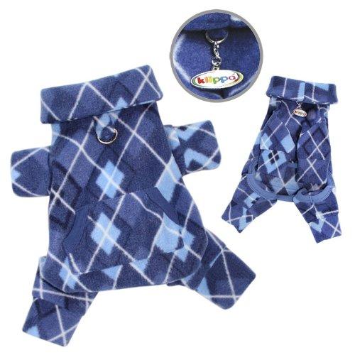 Argyle Pattern Fleece Turtleneck Dog Pajamas / Bodysuit Size: X-Small