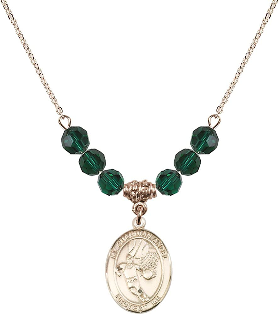 Green Emerald May Birthstone 18-Inch Hamilton Gold Plated Necklace with 6mm Emerald Birthstone Beads and Scapular Charm
