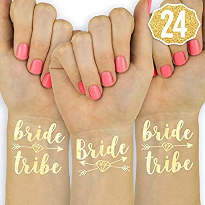 Amazon Com Xo Fetti 24 Bride Tribe Metallic Tattoos Gold Bachelorette Party Decorations Bridesmaid Gift Bride To Be Favor Beauty