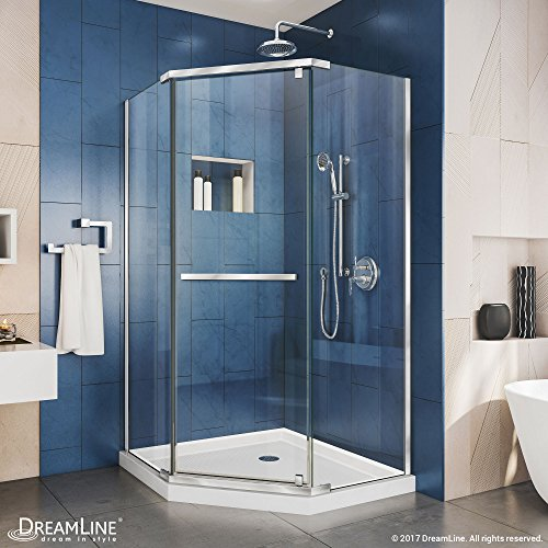 DreamLine Prism 42 in. x 74 3/4 in. Frameless Neo-Angle Pivot Shower Enclosure in Chrome with White Base Kit