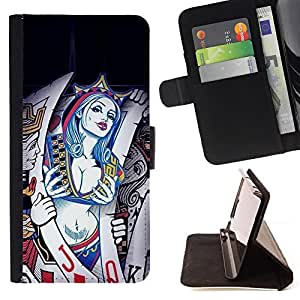 BullDog Case - FOR/HTC One M8 / - / Sexy Cards Queen Hearts /- Monedero de cuero de la PU Llevar cubierta de la caja con el ID Credit Card Slots Flip funda de cuer