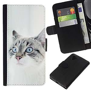 eJoy---La carpeta del tirón la caja de cuero de alta calidad de la PU Caso protector - LG Nexus 5 D820 D821 - --White House Cat British Bobtail Shorthair