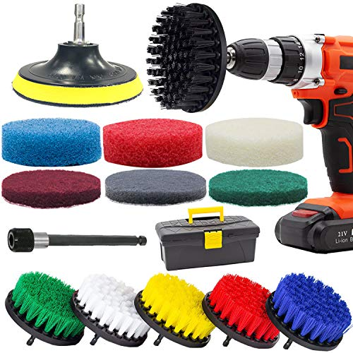 GOH DODD Drill Brush and Scrub Pads, 16 Pieces Power Scrubber Variety Cleaning Kit with Long Reach Attachment in Box for Bathroom Shower Scrubbing, Carpet Cleaning, Grout Scrubbing, and Tile Cleaning