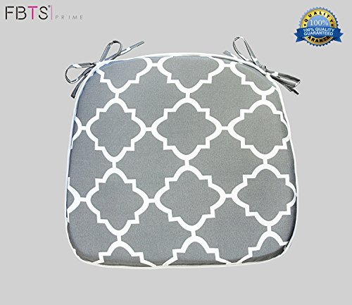 FBTS Prime Chair Cushion 16 x 17 Inches Indoor/Outdoor Seat Pads Square (Set of 2, Grey, Quatrefoil Lattice) for Outdoor Patio Furniture Garden Home Office by