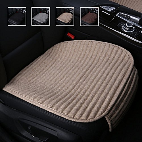 Suninbox Car Seat Covers,Car Seat Pads Cushions for Automobiles, Buckwheat Hulls Universal Bottom Seat Cover,Tan Driver Car Seat Protector(Beige Front Seats Only)