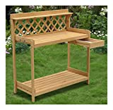 Wood Planter Potting Bench Outdoor Garden Planting Work Station Table Stand