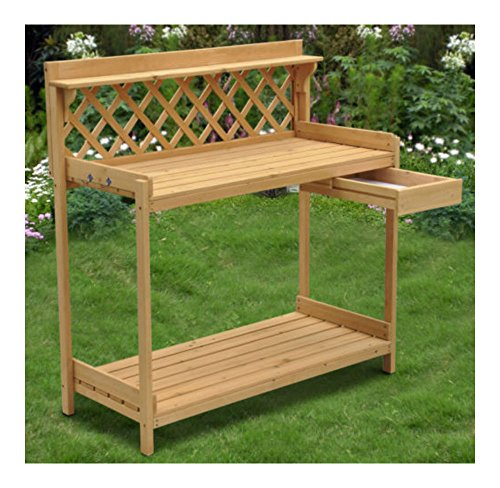 Wood Planter Potting Bench Outdoor Garden Planting Work Station Table Stand by Unknown