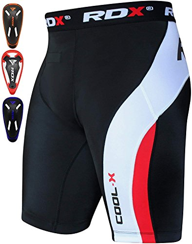Base Training Running - RDX MMA Thermal Compression Shorts Groin Cup Boxing Training Guard Base Layer Fitness Running Exercise