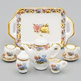 #3: Odoria 1:12 Miniature 8PCS Porcelain Chintz Tea Cup Set Dollhouse Kitchen Accessories
