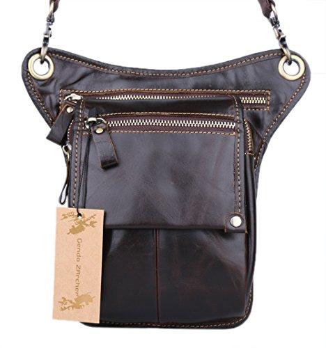 Genda 2Archer Genuine Leather Fanny Pack Waist Hip Purse Tactical Belt Bag