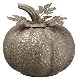 SilksAreForever 9.5'' Hx9.25 W Artificial Metal Pumpkin -Gray (Pack of 2)