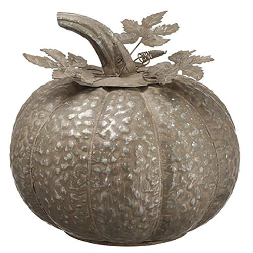 SilksAreForever 9.5'' Hx9.25 W Artificial Metal Pumpkin -Gray (Pack of 2)