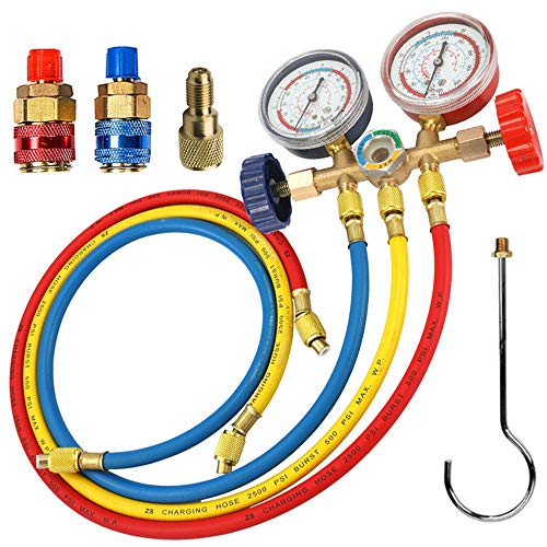 LIYYOO Refrigerant Charging Hose, with Pressure Gauge and Hook Apply to R134A R12 R22 R502 R404 Refrigerant Air Conditioning Manifold Gauge 1/4