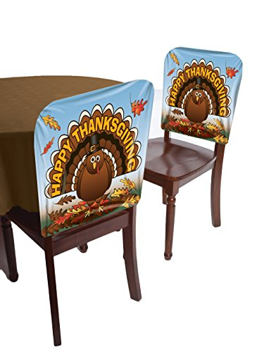 Forum Novelties Happy Thanksgiving Turkey Chair Cover, Multicolor