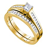 10k Yellow Gold Solitaire Princess Diamond Engagement Ring & Wedding Band Bridal Set Side Stones 1/2 ctw