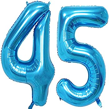MAGJUCHE 40 Inch Blue Foil 45 Helium Jumbo Digital Number BalloonsBlown Up With 45th Birthday Party Supplies Decoration For Women Or Men