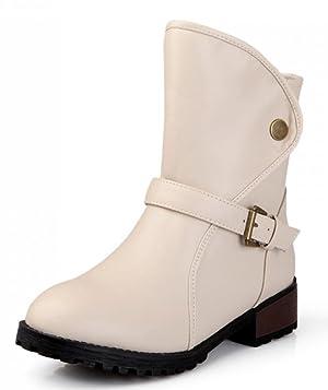 IDIFU Women's Sweet Fall Strap Buckle Chunky Martin Ankle Boots Beige 8.5 B(M) US