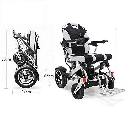 - YOLANDEK New Model Fold & Travel Lightweight Folding Remote Control Electric Wheelchair Motorized- Weighs only 50 lbs with Battery - Supports 300 lb
