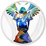 Pixels Round Beach Towel With Tassels featuring ''Healing Angel - Spiritual Art Painting'' by Sharon Cummings