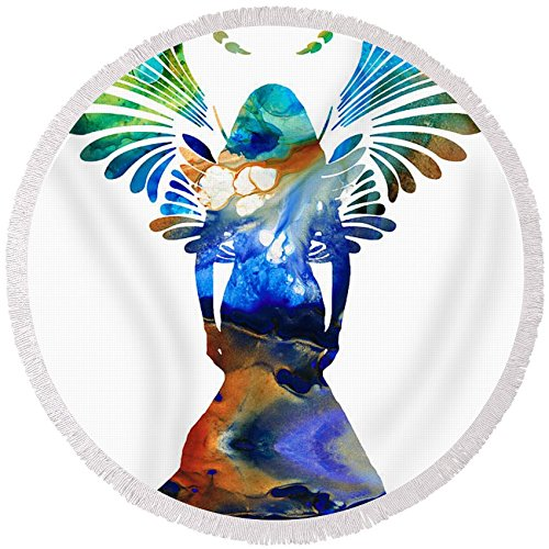Pixels Round Beach Towel With Tassels featuring ''Healing Angel - Spiritual Art Painting'' by Sharon Cummings by Pixels