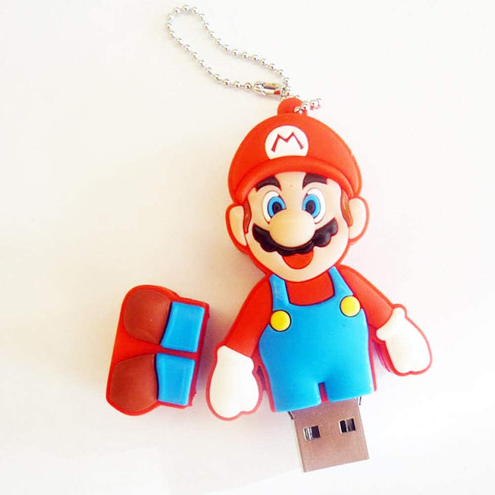 Memorias USB Flash Drive Pen Memory Sticks USB 2.0 Caricatura Super Mario Bros Disco U Creativo Llavero transmisión de Datos portátil de Alta Velocidad (32GB,Mario 3)