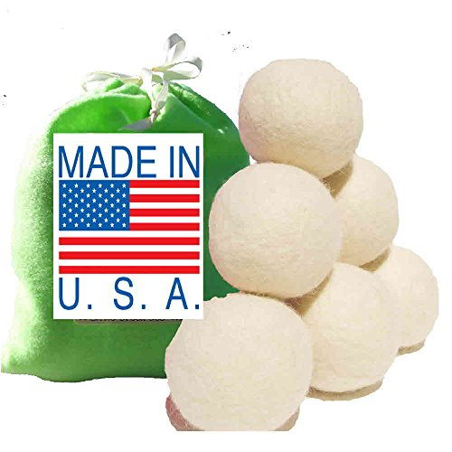 Six Eco-Friendly 100% Wool Dryer balls with Free Eco-Felt Gift bag, Handmade in America, 100% Premium Wool, XL, Natural and Unscented, (Baby Blue)