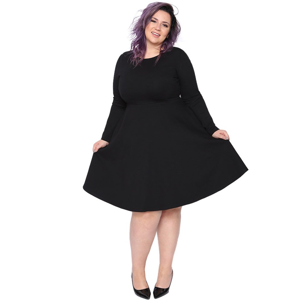 Astra Signature Women's Plus Size Plain Long Sleeve Loose Swing Casual Midi Dress (Black, 18W) by Astra Signature (Image #1)